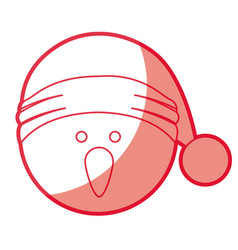 Red silhouette of snowman head with christmas hat vector