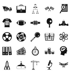 successful icons set simple style vector image vector image