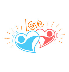 two loving hearts in a dance vector image