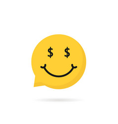 Wealthy emoji speech bubble logo vector