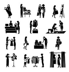 Women shopping black icons set vector
