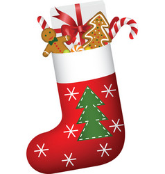 Christmas sock full of gifts vector