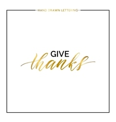 Give thanks gold text vector image