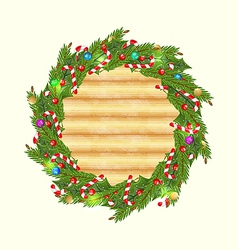 Christmas wood background with holiday decoration vector image
