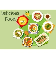 Tasty dinner icon with healthy food dishes vector