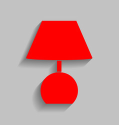 Lamp sign   red icon with soft vector