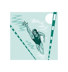 Swimmer freestyle retro vector