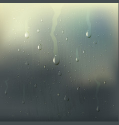 Misted wet glass drops realistic composition vector