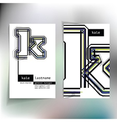 Business card design with letter k vector