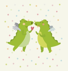 Festive card with romantic dinosaur couple vector