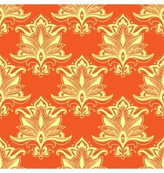 Orange indian stylized paisley floral seamless vector