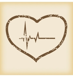 Grungy cardiology icon vector