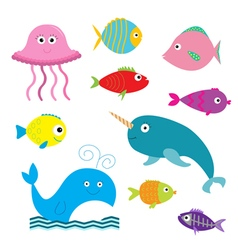 Sea and ocean animal set isolated fish jellyfish vector