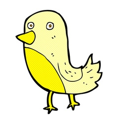 Comic cartoon yellow bird vector