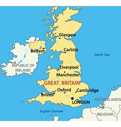 Map of the united kingdom of great britain vector