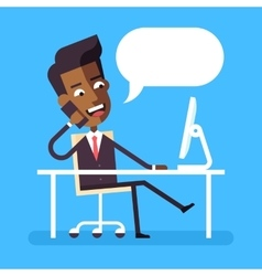 African american man sitting at desk with phone vector