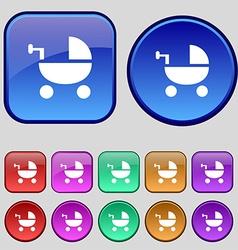 Baby stroller icon sign a set of twelve vintage vector