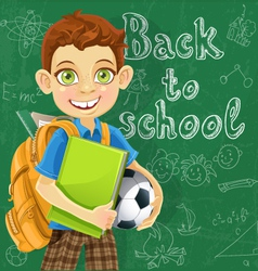 Banner Back to school a boy with a backpack vector image