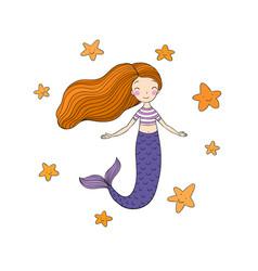 Beautiful little mermaid and starfish siren sea vector
