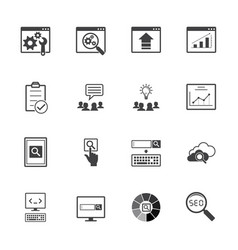 big data icons set seo concept vector image vector image