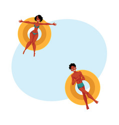 Black african young man and woman floating on vector