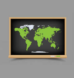 blackboard world map lesson vector image vector image