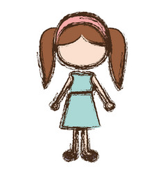 Blurred colorful faceless caricature pigtails hair vector