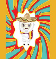 cartoon alpaca in sombrero vector image vector image