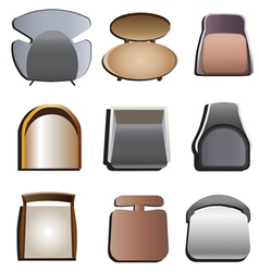 Chair top view set 4 vector