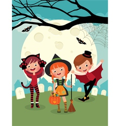 Children on halloween party vector