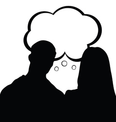 couple with speech bubble silhouette in black vector image vector image
