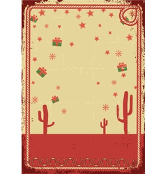 Cowboy christmas card with rope frame for text on vector image