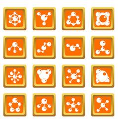 molecule icons set orange vector image vector image