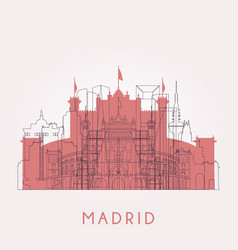 Outline madrid vintage skyline with landmarks vector