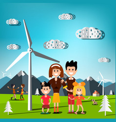 People on field with windmills and mountains on vector