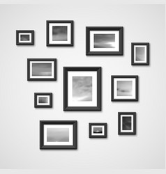 picture frames with nature photos on wall vector image