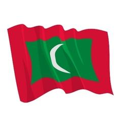 Political waving flag of maldives vector