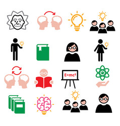Science knowledge creative thinking ideas icons vector