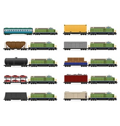 Set icons railway train 03 vector