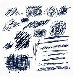 set of hand drawn ink pen scribbles vector image