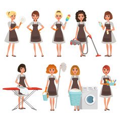 set of housewives with different equipment vector image vector image