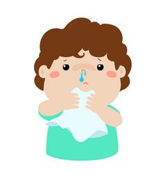 sick boy runny nose vector image