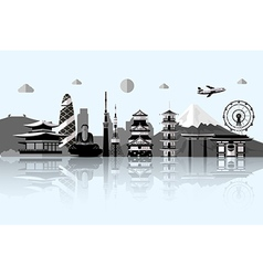 Silhouette of Tokyo city in JapanJapan landmarks vector image vector image