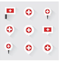 Switzerland flag and pins for infographic and map vector