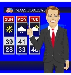 Tv weather news reporter meteorologist anchorman vector