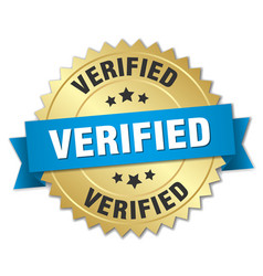 Verified 3d gold badge with blue ribbon vector