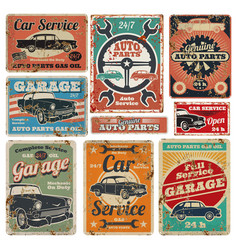 vintage road vehicle repair service garage and vector image