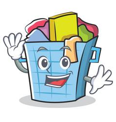 Waving laundry basket character cartoon vector