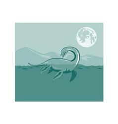 Loch Ness Monster Retro vector image