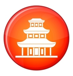 Buddhist temple icon flat style vector